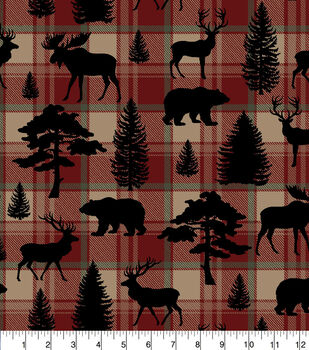 Super Snuggle Flannel Fabric-Animal Silhouettes on Plaid
