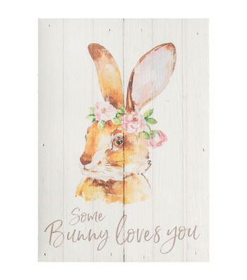 Easter Pinewood Wall Decor-Some Bunny Loves You