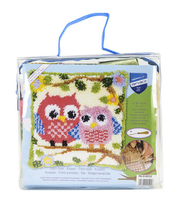 Vervaco Cushion Latch Hook Kit 16''x16''-Owls On A Branch