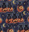 Halloween Cotton Fabric -Black Cat Midnight