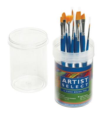 Pro-Art Artist Select 12 pk Short Handle Assorted Nylon Brushes in Tub