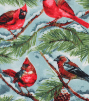 Anti-Pill Plush Fleece Fabric -Snow Cardinals On Blue