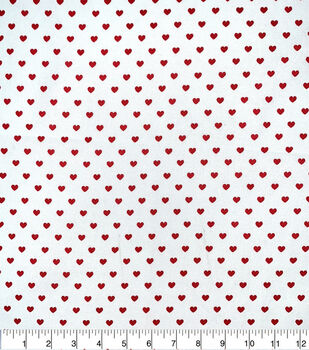 Valentine's Day Cotton Fabric-Red Hearts on White