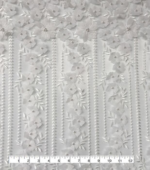 Polyester Embellished Fabric-Trailing Floral with Pearls