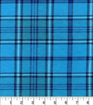 Snuggle Flannel Fabric -Aqua Purple Plaid