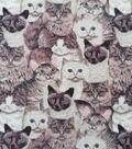 Anti-Pill Plush Fleece Fabric-Cat Collage Realistic