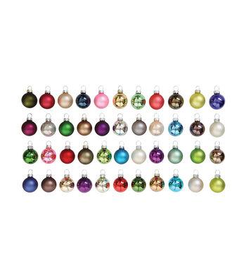 3R Studios Christmas 44 pk Round Boxed Glass Ornament-Bright Multicolor