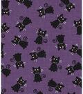 Halloween Cotton Fabric 43\u0022-Black Cats