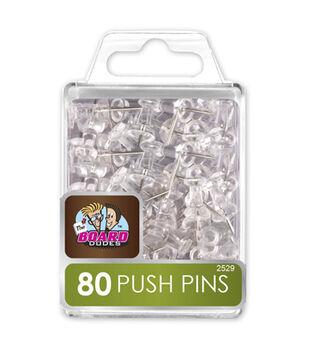 The Board Dudes 80 pk Push Pins-Clear