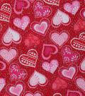 Valentine\u0027s Day Glitter Cotton Fabric 43\u0027\u0027-Patterned Hearts on Red