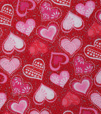 Valentine's Day Glitter Cotton Fabric 43''-Patterned Hearts on Red