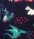 Doodles Juvenile Interlock Knit Fabric 57\u0027\u0027-Pink Dragon on Navy