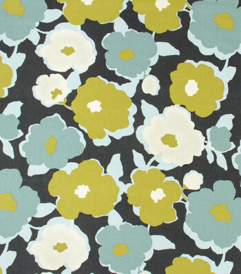 """Robert Allen @ Home Upholstery Fabric 55""""-Top Floral Charcoal"""