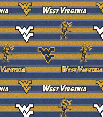 "West Virginia University Mountaineers Fleece Fabric 58""-Polo Stripe"