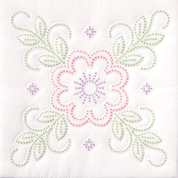 "Stamped White Quilt Blocks 18""X18"" 6/Pkg-Floral Design"