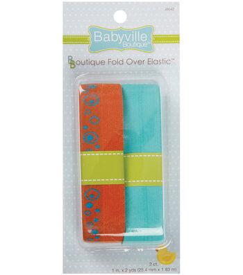 Babyville Boutique 4 Yds Fold Over Elastic Orange & Turquoise