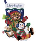 Dimensions Togoggan Trio Stocking Felt Applique Kit