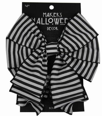 Maker's Halloween 2.5'' Decorative Bow-Black & White Stripes