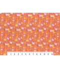Modern Premium Cotton Print Fabric 43\u0027\u0027-Orange & Metallic Texture