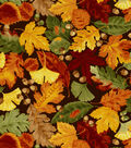 Harvest Cotton Fabric 44\u0022-Leaves And Acorns