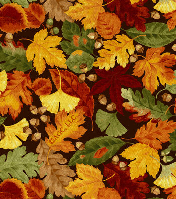 """Harvest Cotton Fabric 44""""-Leaves And Acorns"""