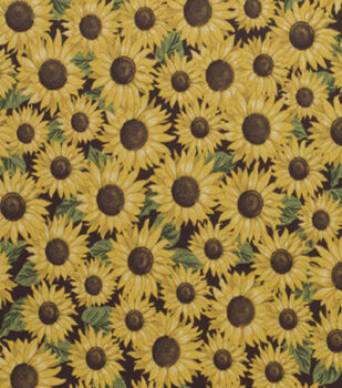 Harvest Cotton Fabric-Packed Sunflowers On Brown