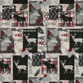 Super Snuggle Flannel Fabric-Deer Moose Silhouette Patch