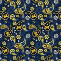 University of Michigan Cotton Fabric-Paisley