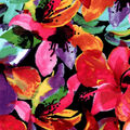 Luxe Flannel Fabric -Flowers on Black