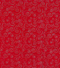 Christmas Cotton Fabric 43\u0022-Silver & Red Scrolls