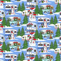 Christmas Cotton Fabric-Snowman Camp Blue Glitter Snow