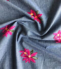 Demim Dark Wash Cotton Fabric-Pink Floral Embroidery