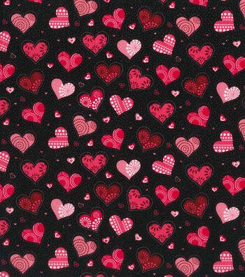 "Holiday Inspirations™ Valentine's Day Fabric 43""-Black with Heart"