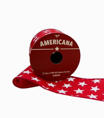 "Americana Ribbon 2.5""x12'-White Stars on Red"