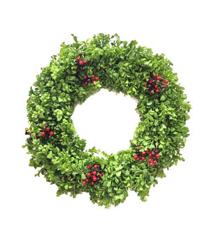 Handmade Holiday Christmas 24'' Boxwood & Red Berry Wreath
