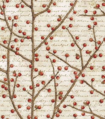 """Premium Cotton Quilt Fabric 43""""-Berry Vines"""