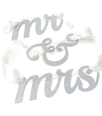 Mr And Mrs Glitter Banner