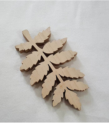 Simply Autumn Wood Decor- Leaf Multi Stem