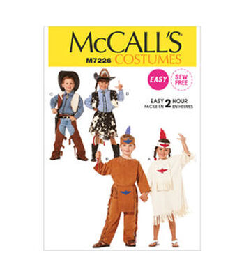 McCall's Pattern M7226 Childrens' Western & Native American Costumes