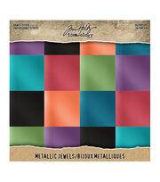 """Tim Holtz Idea-Ology Kraft Metallic Paper Pad 8""""X8"""" 36/Pkg-Jewels, , hi-res"""