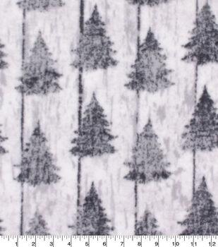 Christmas Anti-Pill Plush Fleece Fabric-Pine Trees on White Wash