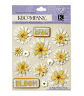 K&Company 13 pk Daisies Embellishment Dimensionals Stickers