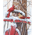 Dimensions Cardinals On Sled Counted Cross Stitch Kit