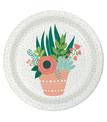 Hello Spring 8 pk Paper Dinner Plates-Succulent