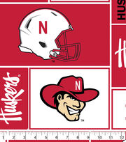 University of Nebraska Cornhuskers Fleece Fabric 58''-Block, , hi-res
