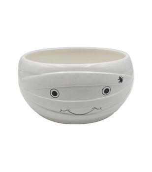 Maker's Halloween Ceramic Mummy Head Candy Bowl