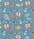 Blizzard Fleece Fabric-Sloth on Aqua