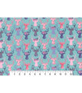 Premium Cotton Print Fabric 43\u0027\u0027-Stag Heads on Teal