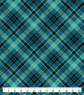 Snuggle Flannel Fabric-Teal Black Bias Plaid