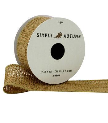 Simply Autumn Metallic Burlap Ribbon 1.5''x12'-Natural